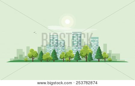 Flat Vector Illustration Of Urban Road Landscape Street With City Office House Buildings And Green T
