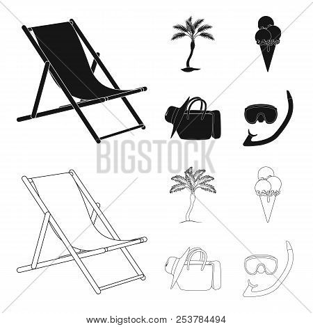 Beach, Palm Tree, Ice Cream.summer Vacation Set Collection Icons In Black, Outline Style Vector Symb
