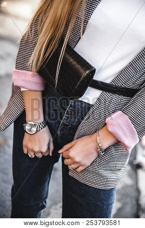 Young Stylish Woman In Black Trendy Outfit With Big Bag In Hand Street Look A