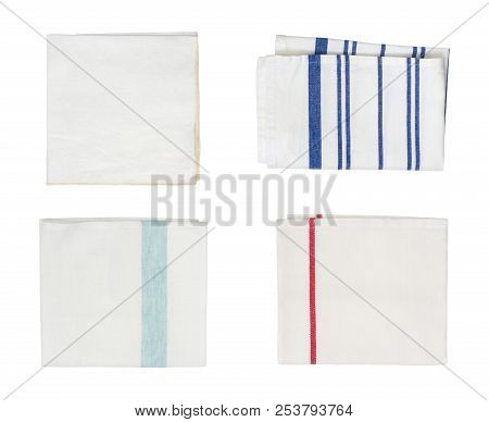 Collection Of Different Folded Kitchen Towels Isolated On White Background
