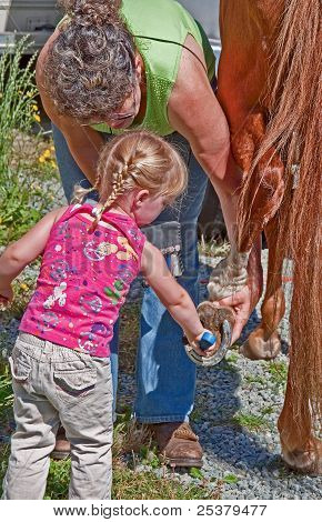 This grandmother is helping her toddler granddaughter with blond braided pigtails to help clean a horse's hoof in preparation for riding. Classic family rural life moment. poster