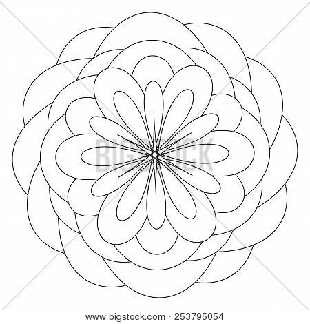 Mandala Template With Flower In The Center Anti Stress Therapy Pattern Coloring Book