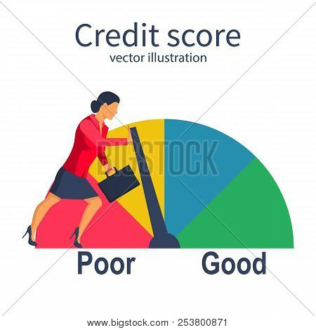 Credit Score, Gauge. Businesswoman Pushing Speedometer Scale Changing Personal Credit Information. P