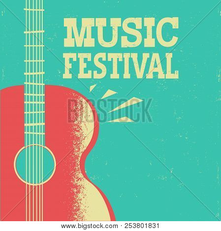 Music Poster With Acoustic Guitar On Old Retro Background With Text