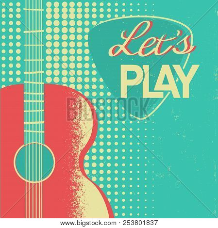 Music Poster With Acoustic Guitar On Old Retro Paper Background