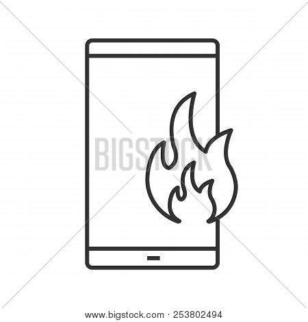 Fire Emergency Calling Linear Icon. Thin Line Illustration. Broken Phone. Deadline. Smartphone With