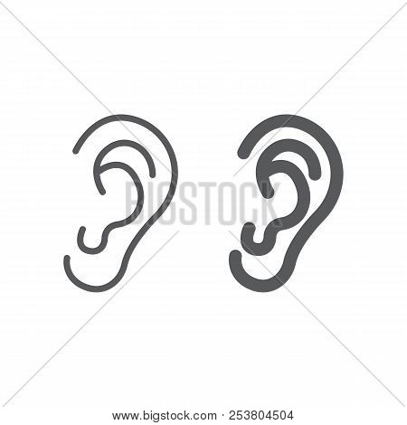 Human Ear Line And Glyph Icon, Anatomy And Biology, Otology Sign, Vector Graphics, A Linear Pattern