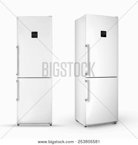 Modern Household Two-chamber Refrigerator On A White Background, Two Angles And Positions, Isolated