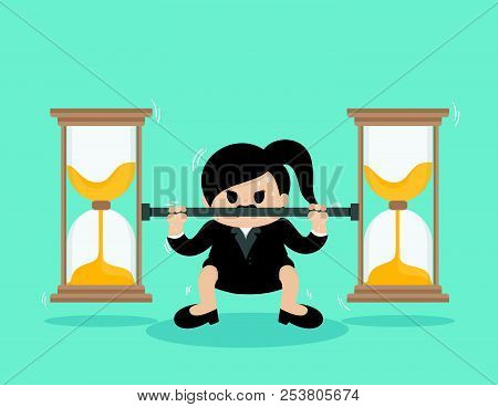 Business Woman Lifts Coin Very Heavy ,fight Against Time
