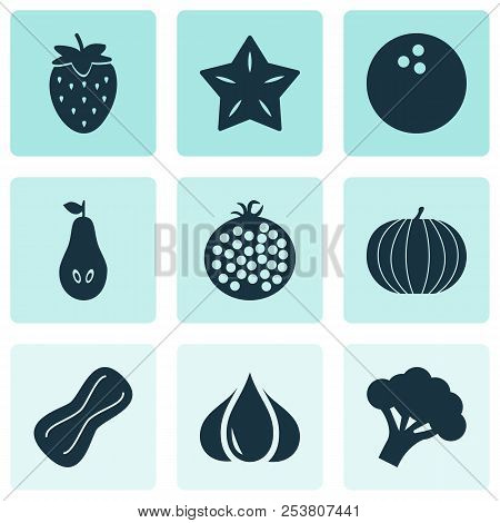 Food Icons Set With Starfruit, Pear, Garlic And Other Coconut Elements. Isolated Vector Illustration