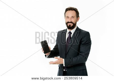 Businessman Formal Suit Holds Smartphone. Man Bearded Businessman Glad Announce New Version Update A
