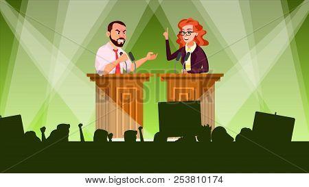 Political Meeting Vector. Political Campaign. Tribune. Speaker Training. Persuades To Vote. Advertis