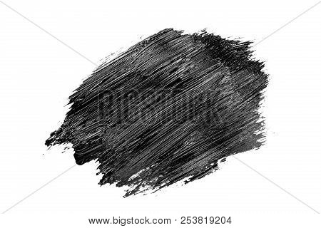 Abstract Grunge Brush Stroke Made With Slack Acrylic Paint, Isolated On White. Perfect For Your Desi