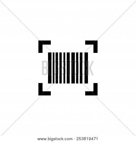 Smartphone Scanning Barcode. Flat Vector Icon Illustration. Simple Black Symbol On White Background.