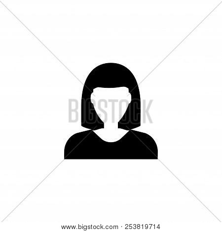 Woman Avatar, Female User. Flat Vector Icon Illustration. Simple Black Symbol On White Background. W