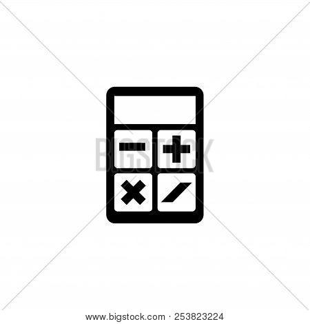 Calculator. Flat Vector Icon Illustration. Simple Black Symbol On White Background. Calculator Sign