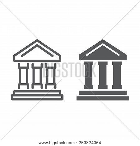 Bank Building Line And Glyph Icon, Finance And Banking, Bank Sign, Vector Graphics, A Linear Pattern
