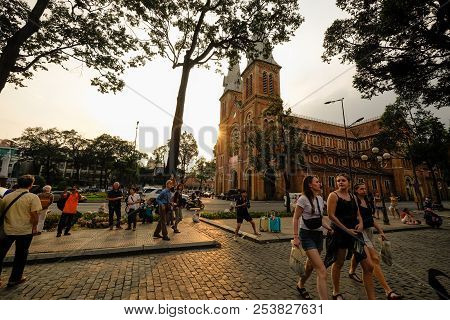 Ho Chi Minh City, Vietnam - 06, 2018: Notre Dame Cathedral (vietnamese: Nha Tho Duc Ba). Royalty Fre