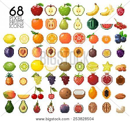 Big Collection Of Pixel Fruits, Berries And Nuts. Old Style 8 Bit Icons. Apple, Banana, Cherry, Lemo