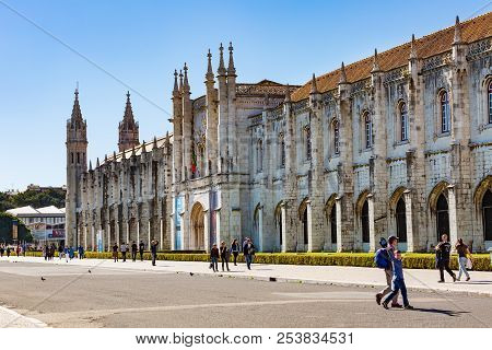 Lisbon, Portugal - March 27, 2018: The Jeronimos Monastery Or Hieronymites Monastery Is Located In L