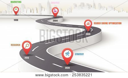 Business Road Map Timeline Infographic Expressway Concepts City Designed For Abstract Background Tem