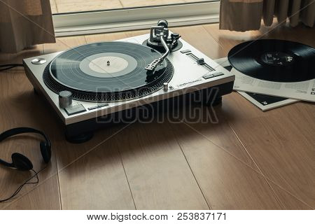 Bangkok, Thailand - July 22, 2018: The Audio-technica Turntable With Bill Evans Trio Vinyl Record, S