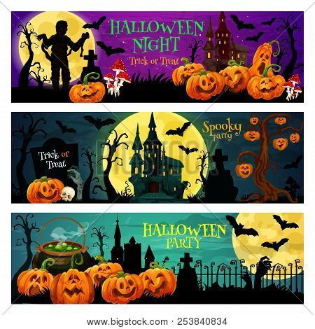 Halloween Night Trick Or Treat Banner Set With October Holiday Pumpkin. Spooky House, Cemetery And Z
