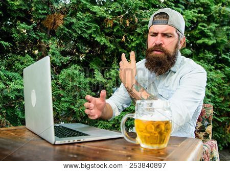 Championship Stream Online. Brutal Man Leisure With Beer And Sport Game. Football Fan Bearded Hipste