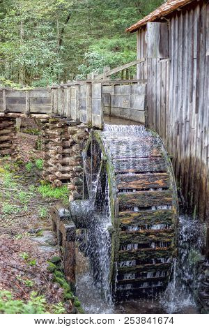 Historic Gristmill And Water Wheel In The Smoky Mountains