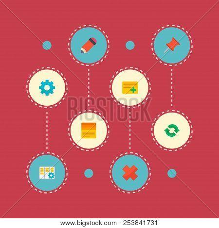 Set Of Task Manager Icons Flat Style Symbols With Task Manager, Pin, Task List And Other Icons For Y