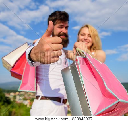 Happy Family Shoppers. Man With Beard Shows Thumb Up Gesture. Couple In Love Recommend Shopping Summ