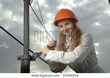 Smiling female at work