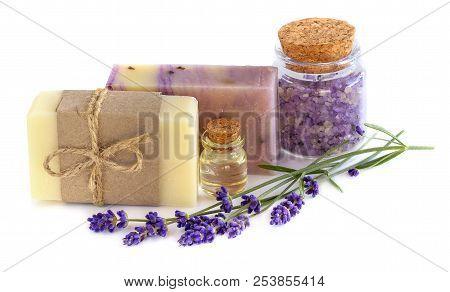 Lavender Handmade Soap, Lavender Oil And Sea Salt On White Background . Spa Lavender Concept