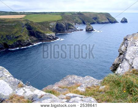 High cliffs on north coast of Cornwall. poster
