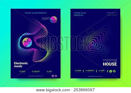 Bright Music Posters With Dj Sound Advertising. Flyer With Distorted Wave Lines. Electronic Music Ev