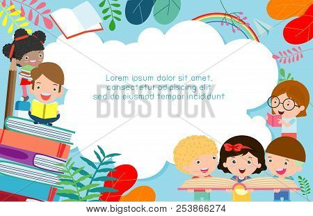Kids Reading Books, Back To School, Education Concept, Template For Advertising Brochure, Your Text,
