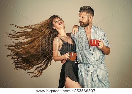 Perfect Morning With Coffee. Man And Girl With Mulled Wine On Grey Background. Refreshment And Energ