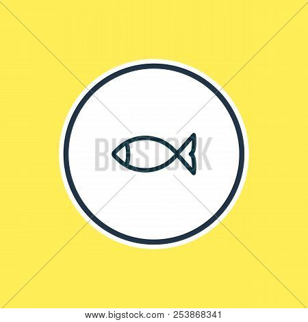 Vector Illustration Of Fish Icon Line. Beautiful Camping Element Also Can Be Used As Seafood Icon El