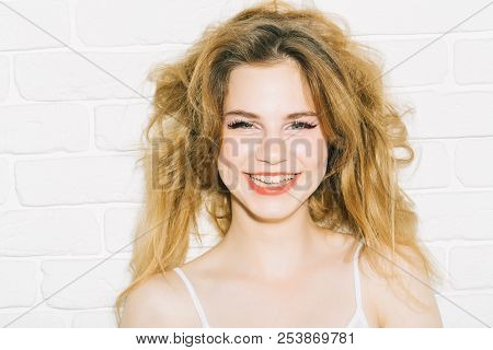 Smile Concept. Woman With Adorable Smile. Pretty Girl With Long Hair Happy Smile. White Teeth Smile.