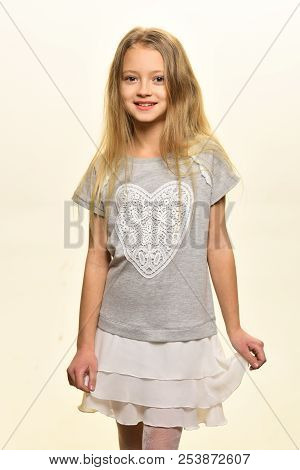 Happy Girl. Happy Girl Isolated On White Background. Happy Girl With Long Blonde Hair. Little Girl W