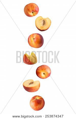 Flying Fruits. Falling Peach Isolated On White Background With Clipping Path As Package Design Eleme
