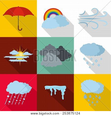 Air Environment Icons Set. Flat Set Of 9 Air Environment Icons For Web Isolated On White Background