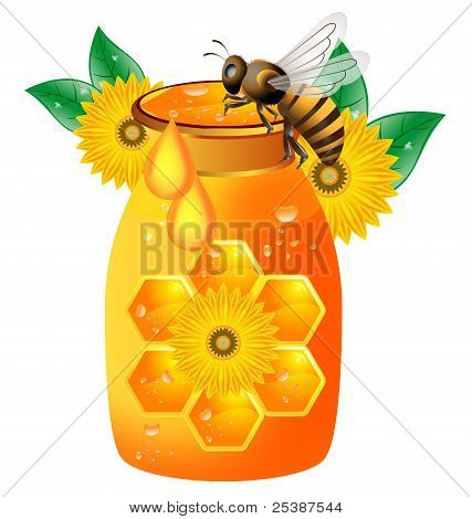 Bees with glass jar and honey over poster