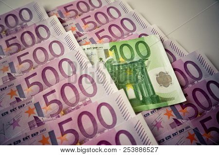 Five Hundred Euros Banknotes In Row And One Hundred Euro In Center