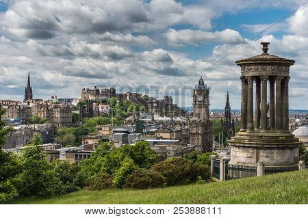 Edinburgh, Scotland, Uk - June 13, 2012: Donald Stewart Monument On Calton Hill With Old Town, Castl