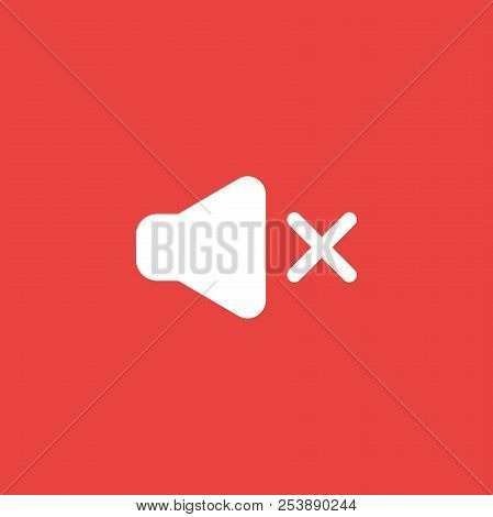Flat Vector Icon Concept Of Sound On Symbol Off Red Background.