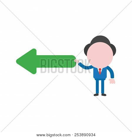 Vector Illustration Of Businessman Character Holding Green Arrow Icon Pointing Left.