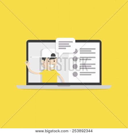 Live Chat Social Media. Live Video Streaming. Smartphone In Hand. Social Media Concept. Vector
