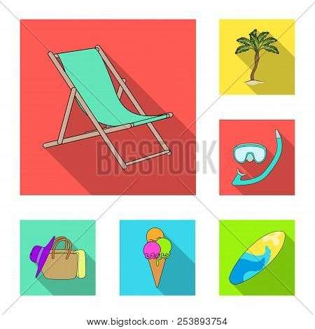Summer Rest Flat Icons In Set Collection For Design. Beach Accessory Vector Symbol Stock Web Illustr