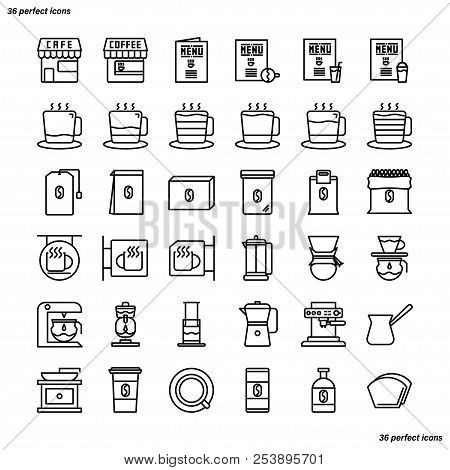 Coffee Shop Outline Icons Perfect Pixel. Use For Website, Template,package, Platform. Concept Busine